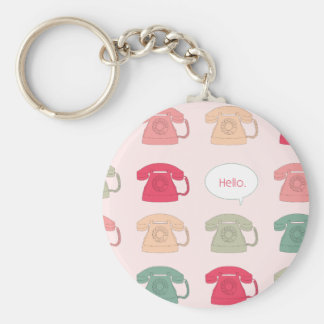 """Hello"" Rotary Phone Pattern Basic Round Button Keychain"