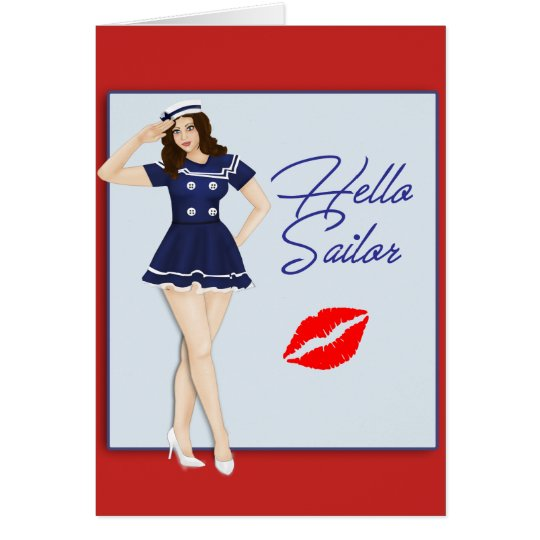 Hello Sailor Pinup Girl Card