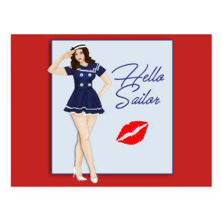 Hello Sailor Pinup Girl Postcard
