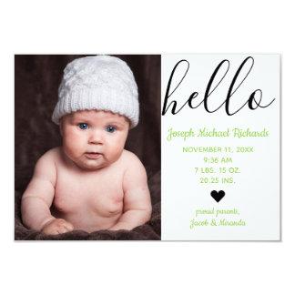Hello Script Photo Green - 3x5  Birth Announcement