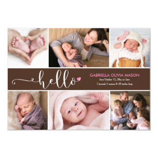 Hello Six Photo Collage Birth Announcement