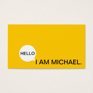 Hello Speech Bubble | Casual Modern Black & Yellow Business Card