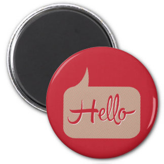 Hello Speech Bubble Red 2 Inch Round Magnet