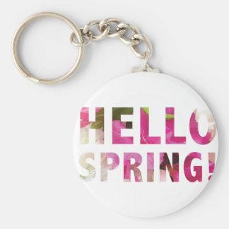 Hello Spring Basic Round Button Keychain