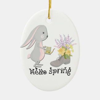 hello spring ceramic ornament