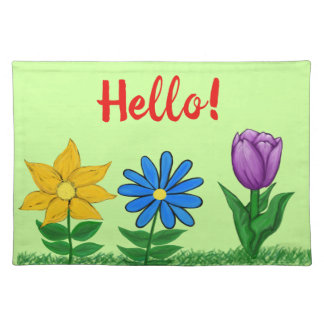 Hello Spring Flowers Green lacemat Placemat
