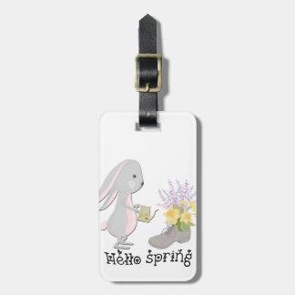 hello spring luggage tag