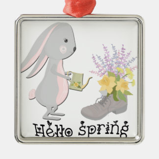 hello spring metal ornament