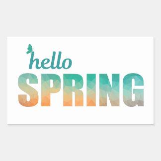 Hello Spring rectangular stickers. Sticker