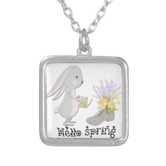 hello spring silver plated necklace