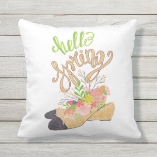 Hello Spring Throw Pillow