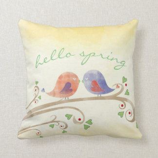 "Hello Spring Throw Pillow, Throw Pillow 16"" x 16"""