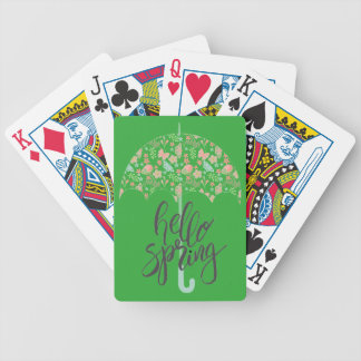 Hello Spring Umbrella Bicycle Playing Cards