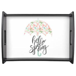 Hello Spring Umbrella Serving Tray