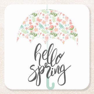 Hello Spring Umbrella Square Paper Coaster