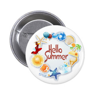 Hello Summer 2 Inch Round Button
