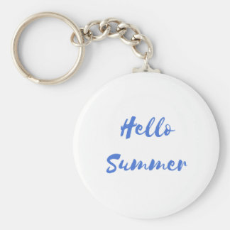 hello summer basic round button keychain