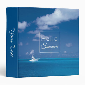 Hello Summer Blue Caribbean Sea Typography Vinyl Binders