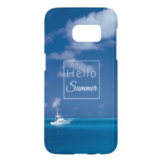 Hello Summer Blue Sky Turquoise Caribbean Sea Samsung Galaxy S7 Case