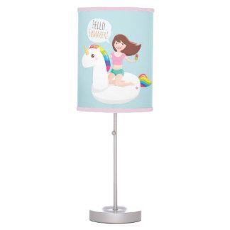 Hello Summer Cute Unicorn Pool Float Table Lamp