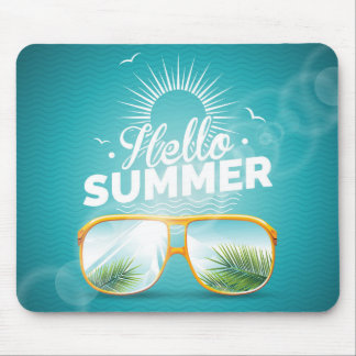 Hello Summer Design with sunglasses Mouse Pad