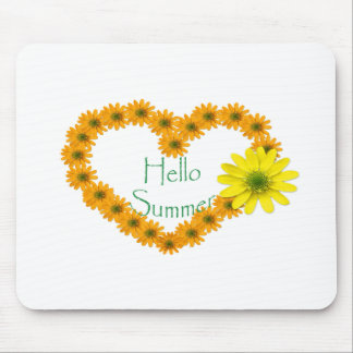 Hello Summer, Floral, Fun, Sunflower Mouse Pad