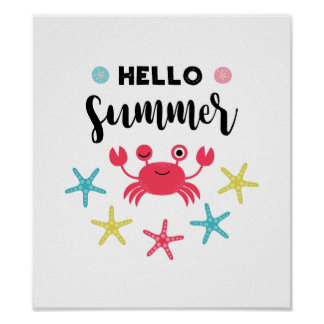 Hello Summer Happy Crab Poster