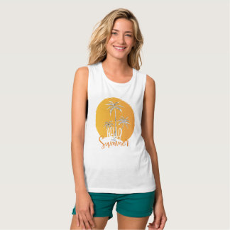 Hello Summer Palm Trees  And Sun Women's Tank Tops