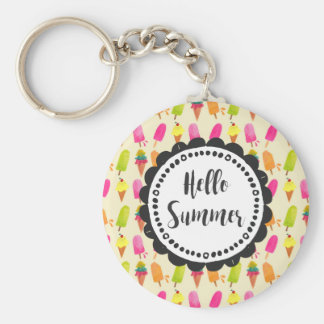 Hello Summer Popsicles and Ice Cream Basic Round Button Keychain
