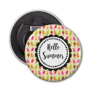 Hello Summer Popsicles and Ice Cream Button Bottle Opener