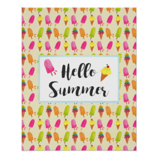 Hello Summer Popsicles and Ice Cream Poster