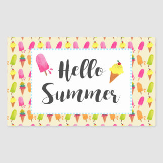 Hello Summer Popsicles and Ice Cream Sticker