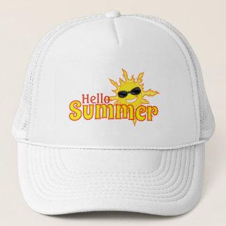Hello summer Sun Wearing Shades Trucker Hat