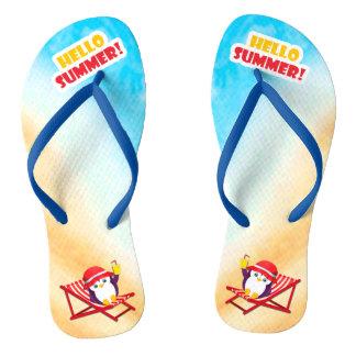 Hello Summer Sunbathing Penguin Flip Flops
