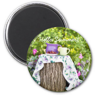 Hello Summer Tea and Plums in the Garden 2 Inch Round Magnet