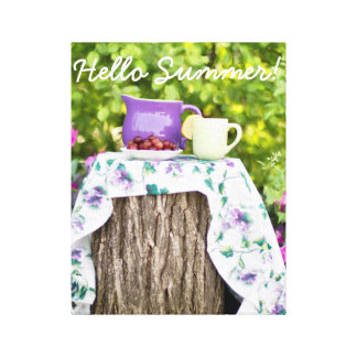 Hello Summer Tea and Plums in the Garden Canvas Print