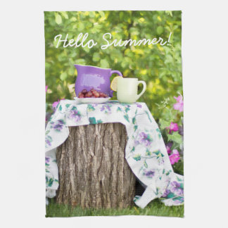 Hello Summer Tea and Plums in the Garden Kitchen Towel