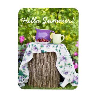 Hello Summer Tea and Plums in the Garden Rectangular Photo Magnet