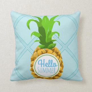 Hello Summer Tropical Pineapple Throw Pillow
