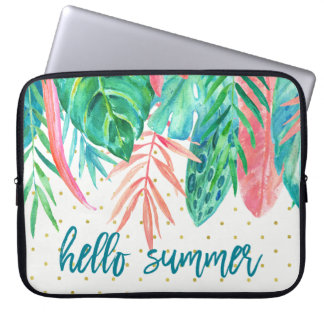 Hello Summer | Tropical Watercolor and Gold Dots Laptop Sleeve