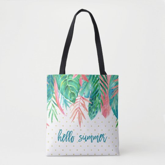 Hello Summer | Tropical Watercolor and Gold Dots Tote Bag