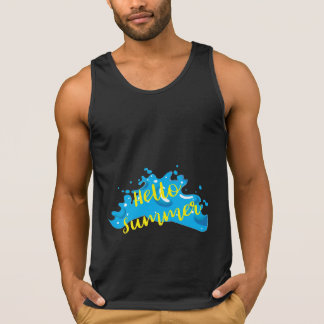 Hello Summer, Waves Graphic, Cool Black