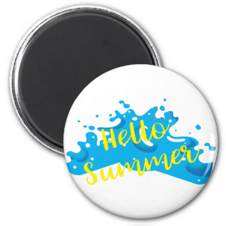Hello Summer, Waves Graphic, Cool White 2 Inch Round Magnet