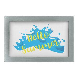 Hello Summer, Waves Graphic, Cool White Belt Buckle