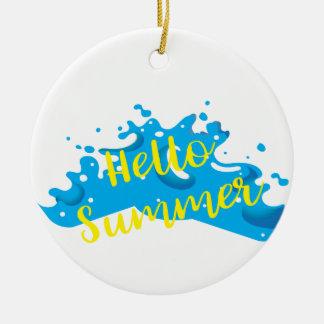 Hello Summer, Waves Graphic, Cool White Ceramic Ornament