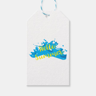 Hello Summer, Waves Graphic, Cool White Gift Tags