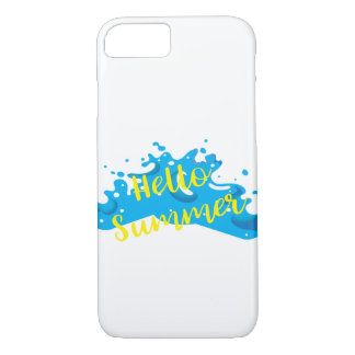 Hello Summer, Waves Graphic, Cool White iPhone 8/7 Case