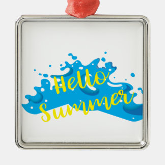 Hello Summer, Waves Graphic, Cool White Metal Ornament