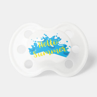 Hello Summer, Waves Graphic, Cool White Pacifier