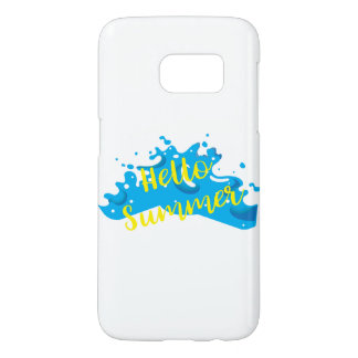 Hello Summer, Waves Graphic, Cool White Samsung Galaxy S7 Case